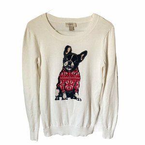 Ann Taylor Loft French Bulldog Dog Sweater  XS